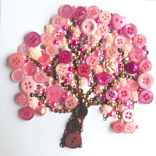 Pink blossom tree framed button artwork. Let your dreams blossom.