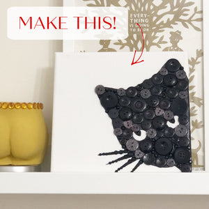 Craft Kit - Button Art Black Cat Canvas