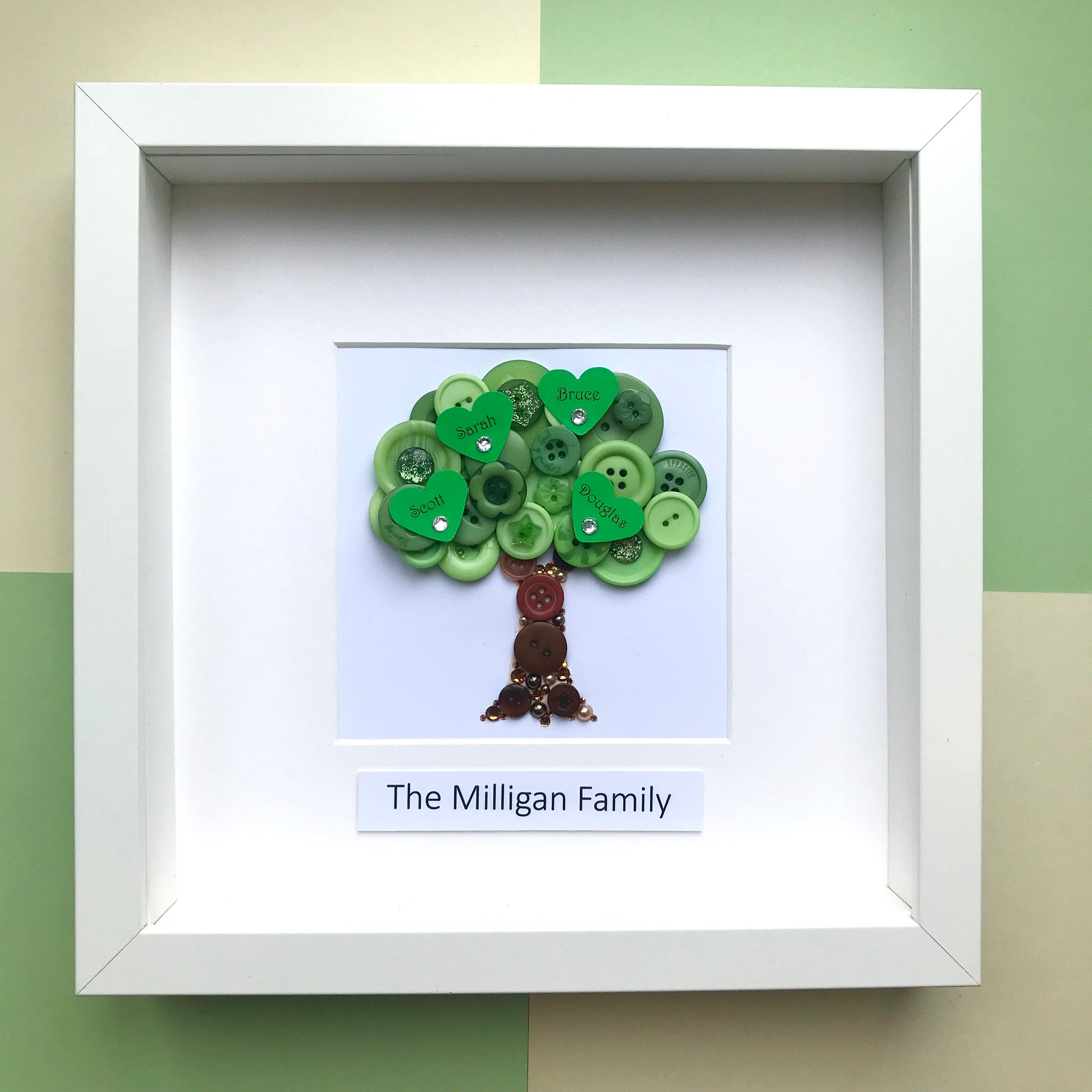 Personalised Family Tree Button Art