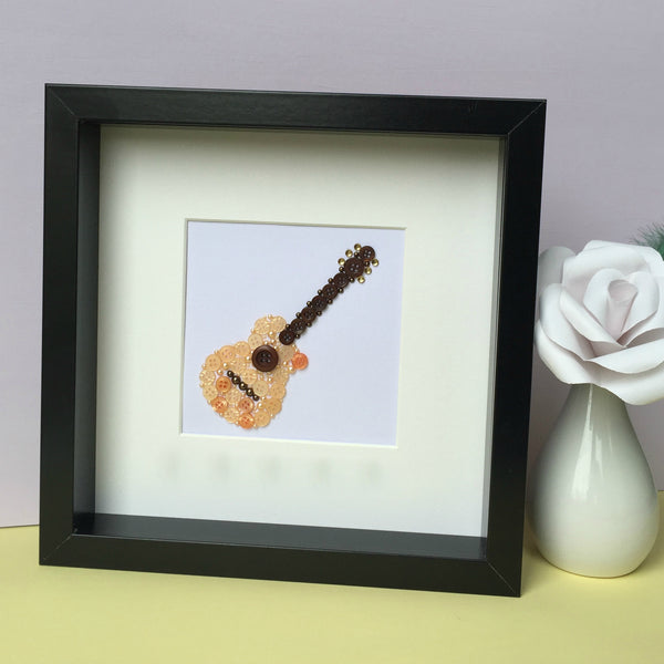 acoustic guitar button art framed picture.