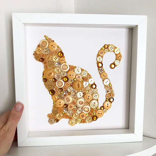 ginger cat button art, cat lover perfect gift