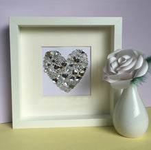 Load image into Gallery viewer, Personalised silver wedding anniversary gift - silver heart button art