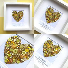 Load image into Gallery viewer, Personalised golden wedding anniversary gift - sparkly gold button art heart