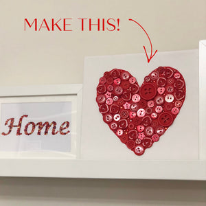 Craft Kit - Button Art Heart Canvas