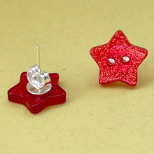 Load image into Gallery viewer, Red Glitter Star Button Earrings