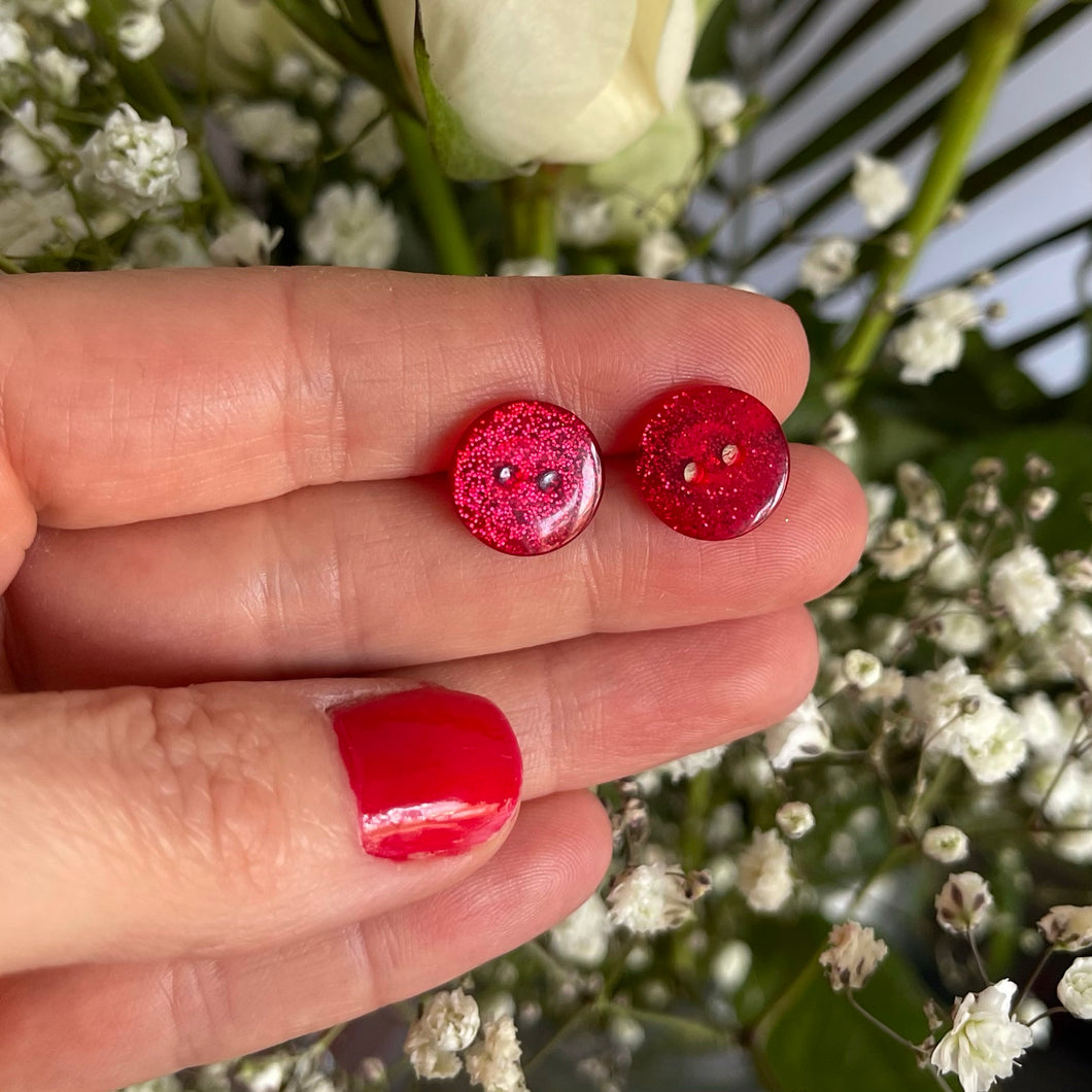 Red Glitter Button Earrings