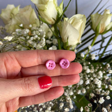 Load image into Gallery viewer, Pink Button Earrings