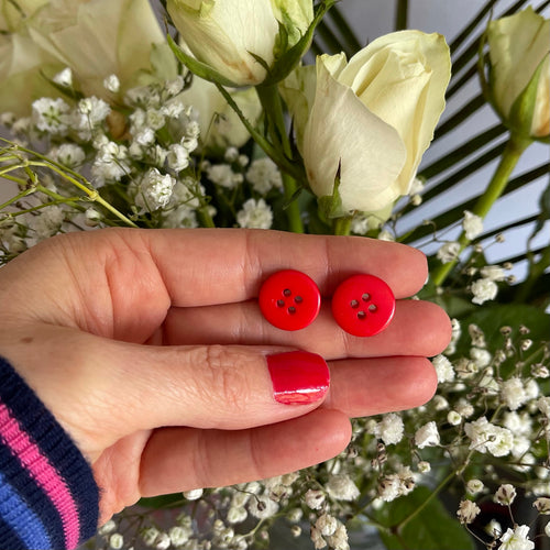 Medium Red Button Earrings