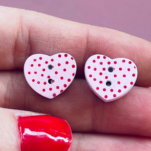 Pink And Red Spotty Wooden Heart Earrings