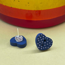 Load image into Gallery viewer, Dark Blue Wooden Heart Button Earrings