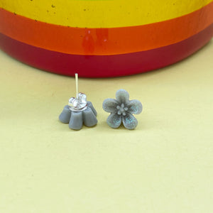 Sparkly Grey Blossom Earrings