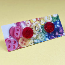 Load image into Gallery viewer, Red Glitter Button Earrings