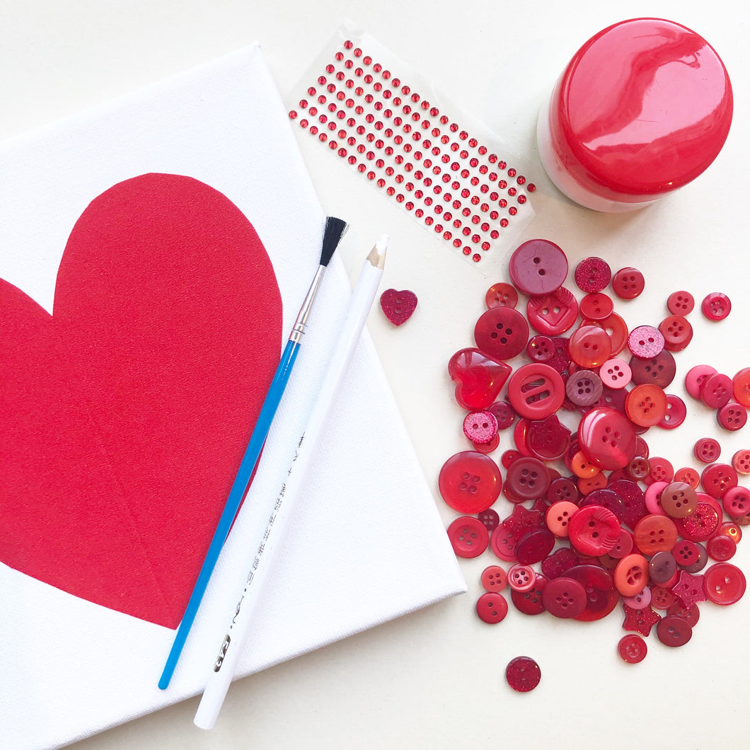 Button art heart craft kit