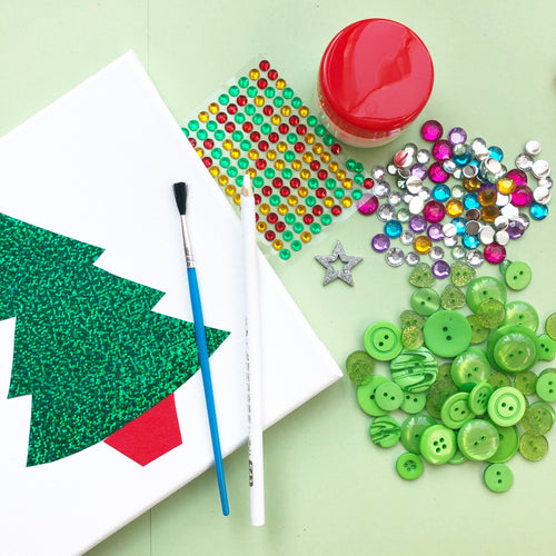Christmas tree button art kit