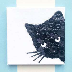 Black cat button art canvas
