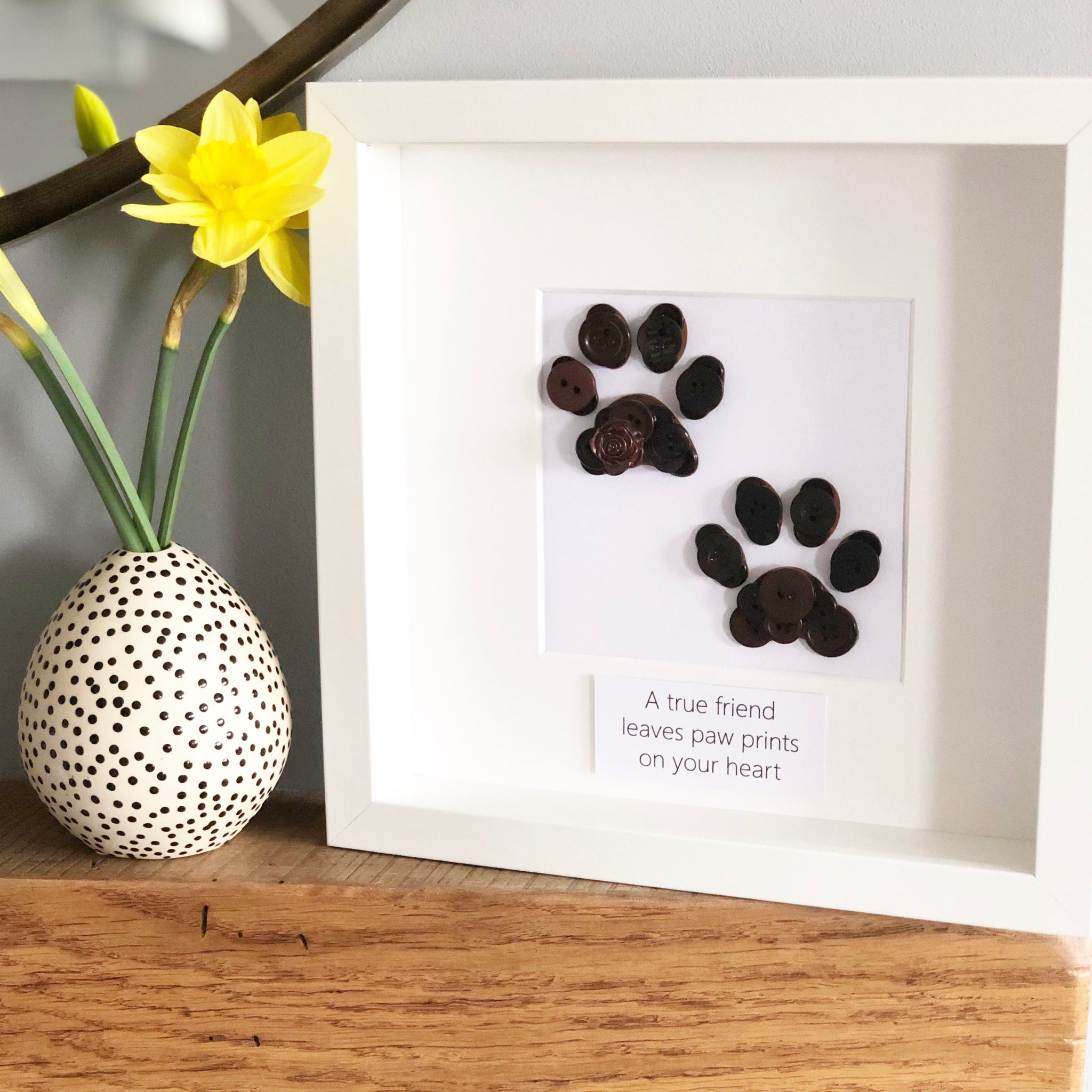Personalised paw prints button art