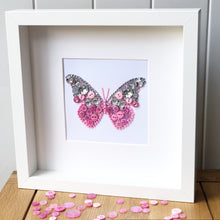 Load image into Gallery viewer, Sparkly butterly button art framed picture.