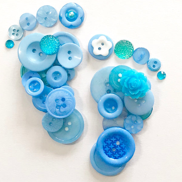 Personalised New Baby Boy or Christening Gift - Button Art Footprints in Blues