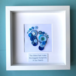 baby boy footprints blue button art framed picture.