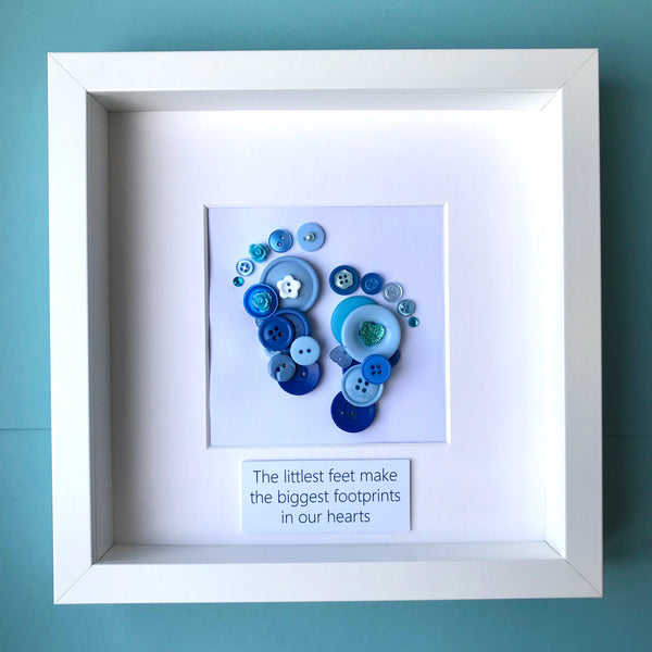 Personalised new baby boy footprints button art in blue