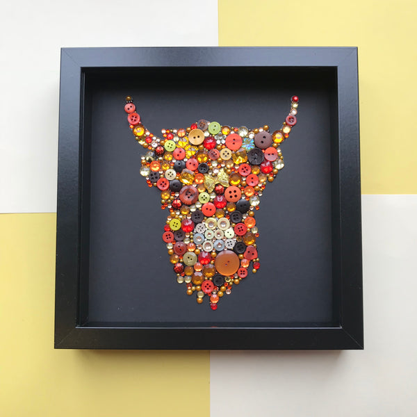 Highland cow button art on black framed picture