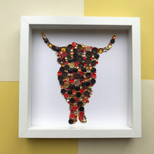 Load image into Gallery viewer, gold and bronze highland cow button art on white. framed picture