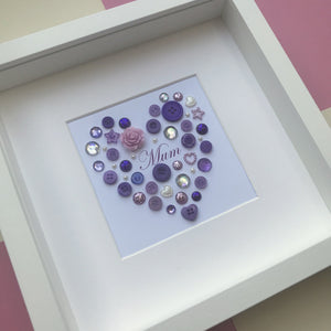 Mum personalised button art heart framed picture.
