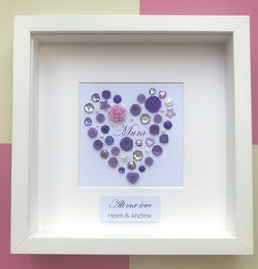 Framed heart for Mum - Personalised framed purple heart