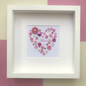 Mother's Day Gift - Personalised framed pink heart