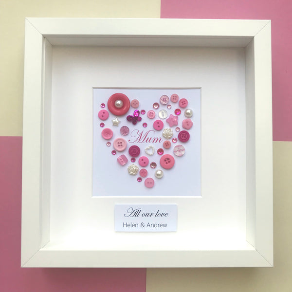 Framed gift for Mum - Personalised framed pink heart