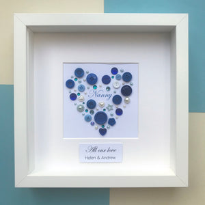 Personalised heart  button artwork for a special Grandmother.