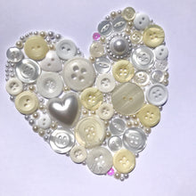 Load image into Gallery viewer, Pearl heart anniversary button art. Framed picture