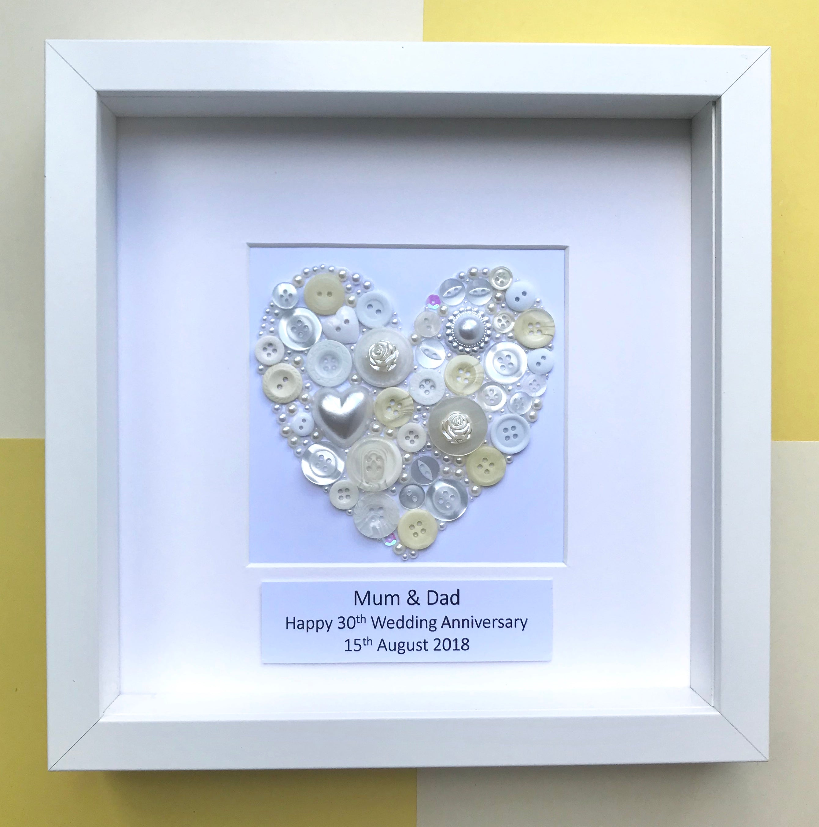 Pearl 30th Wedding Anniversary Personalised Gift Handmade Unique Art Lavender House Gift Company