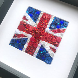 Union Jack button art framed picture. Perfect for any living room or office.