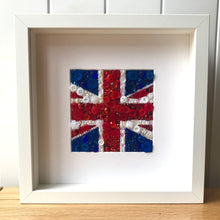 Load image into Gallery viewer, Union Jack button art framed picture. Perfect for any living room or office.