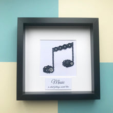 Load image into Gallery viewer, musical note thank you music teacher button art framed picture.