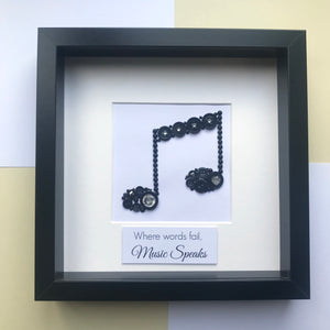 musical note thank you music teacher button art framed picture.