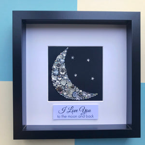 I love you to the moon and back - sparkly button art