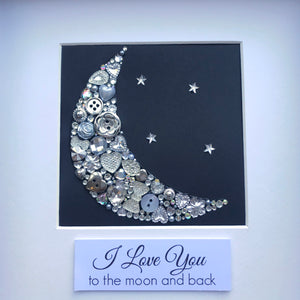 sparkly moon and stars button art framed picture.