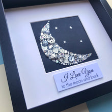 Load image into Gallery viewer, sparkly moon and stars button art framed picture.