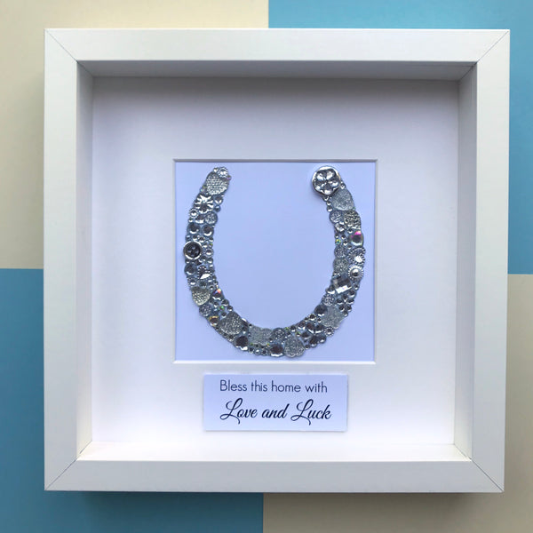 Personalised button art horse shoe framed picture