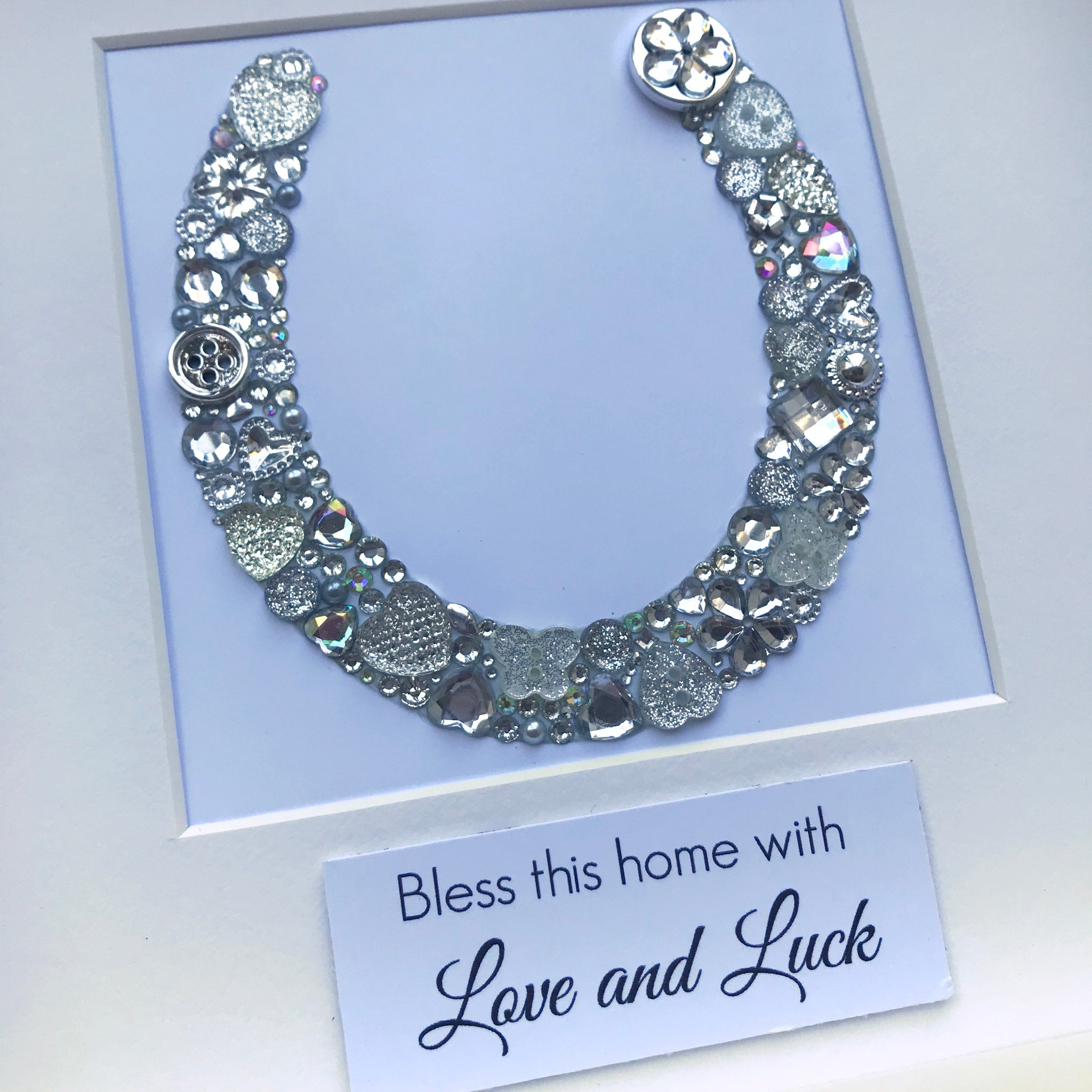 ... Load image into Gallery viewer, Button art lucky horseshoe - personalised housewarming gift ...