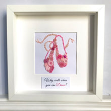 Load image into Gallery viewer, Pink ballet shoes framed button art picture.