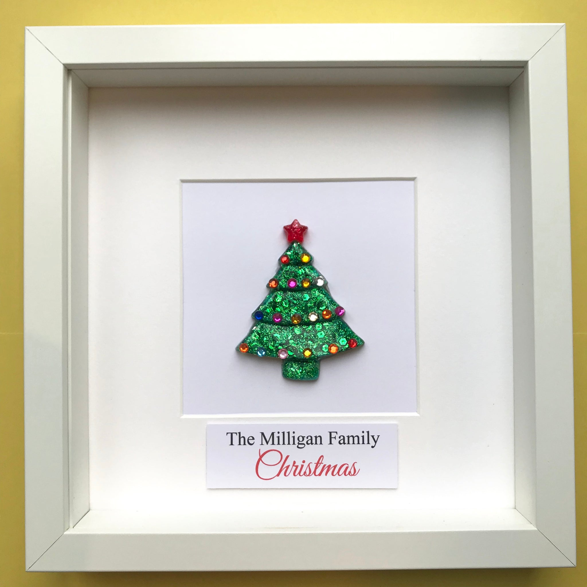 Personalised Framed Sparkly Christmas Tree
