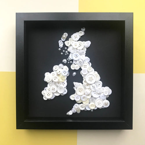 Monochrome button art British Isles Map. Framed picture.