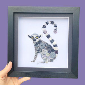 Lemur Button Art Framed Wall Art