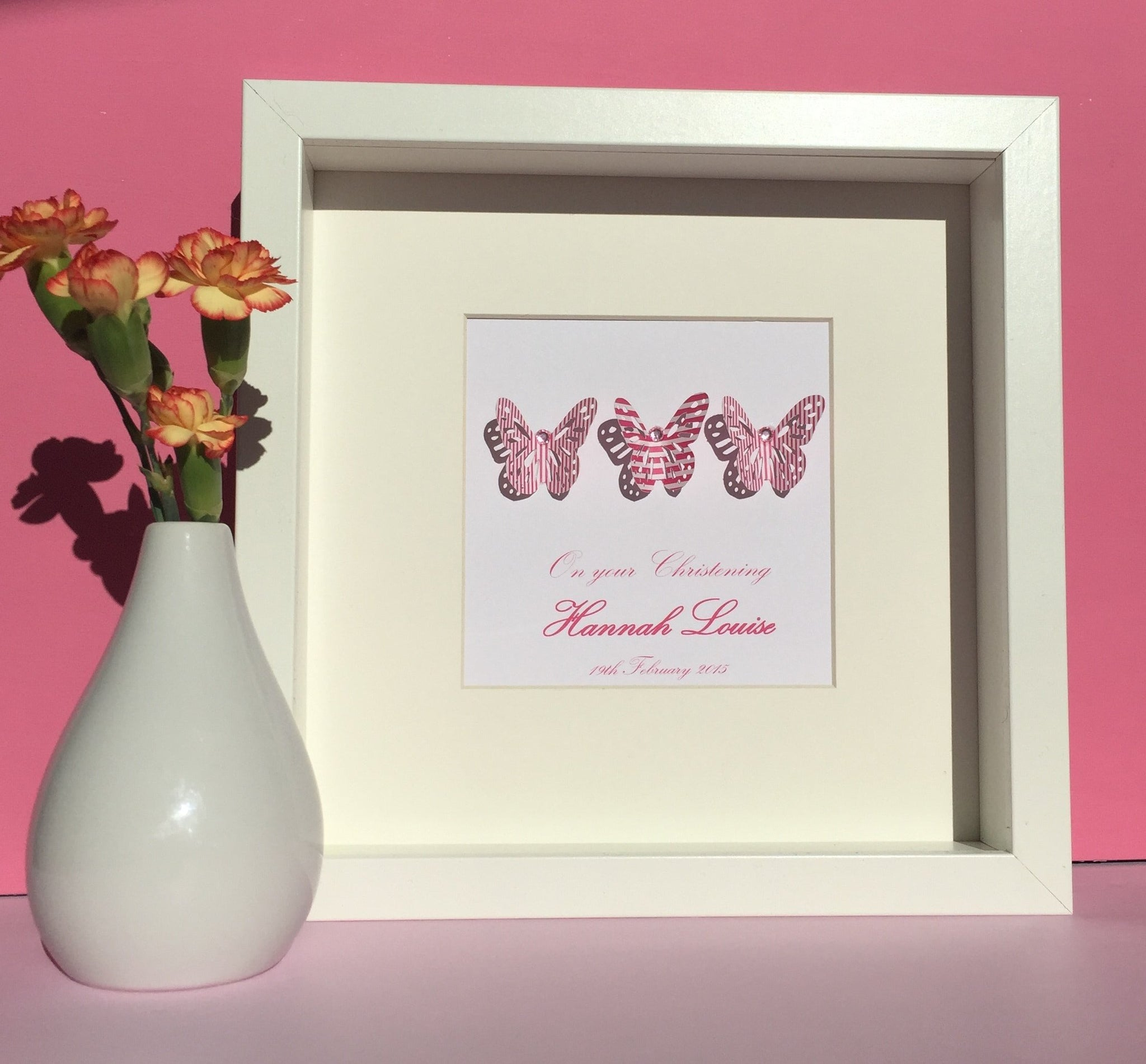 Beautiful butterflies button art framed picture.