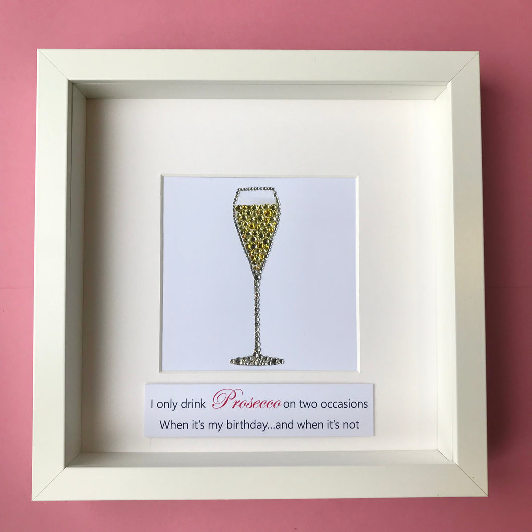 sparkly prosecco button art framed picture