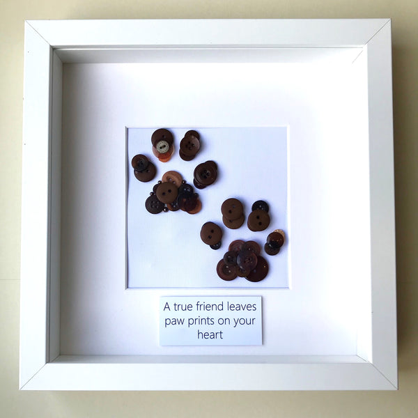 Personalised paw prints button art framed picture.