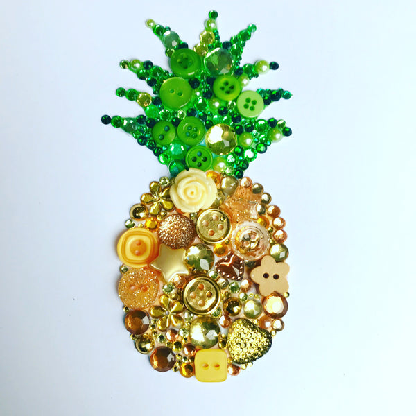 Sparkly gold pineapple button artwork - personalised and original